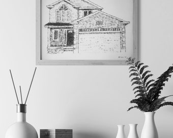 """9""""x12"""" CUSTOM HOUSE ILLUSTRATION created with a stamp / Home illustration / House portrait/ Closing Gift/ Realtor/ Housewarming /Moving gift"""