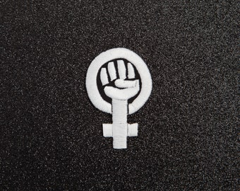 Feminist Patch - Made with Vegan Iron-On Adhesive - Embroidery Sewing DIY Customise Denim Cotton Riot Grrrl Feminism Anti-Sexism