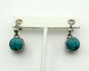 """Unusual Gorgeous Blue Turquoise """"Drum"""" Vintage Hand Made Sterling Silver Dangle Earrings FREE SHIPPING! #DRUMS-ERG2"""