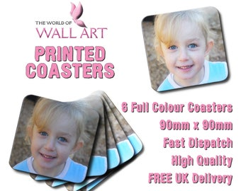 Printed coasters, Set of 6, Any Image, Any Text, Full Colour, Personalised