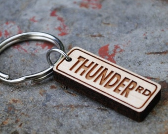 Wooden Thunder Road KEYCHAIN or NECKLACE gift for men