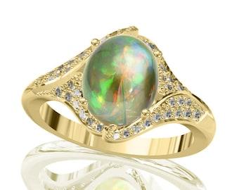 10x8mm Natural Australian Black Opal Ring w/ 0.32ct Diamond in 14K or 18K Gold 2.07TCW Sku: R2431