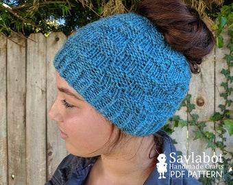 messy bun beanie pattern, pony-tail beanie pattern, basketweave, knit beanie, adult hat, knit pdf pattern, pattern, knit hat, hat, beanie