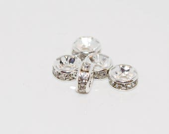 Set of 5 clear rhinestones and metal spacer beads