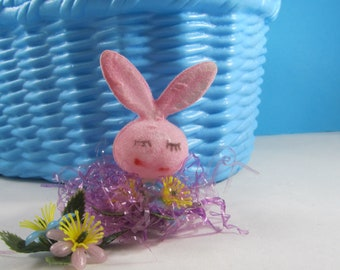 Bunny Head Flocked Easter Decoration Vintage Pink Girl Bunny with Faux Flowers Kitschy Novelty Craft Supplies