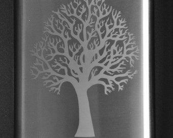 Etched Tree Flask Personalized by Jackglass on Etsy
