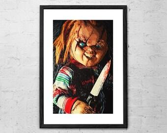 Chucky - Illustration - Chucky Doll - Movie Poster - Horror - Childs Play Chucky - Childs Play - Horror Movie - Horror Decor - Halloween