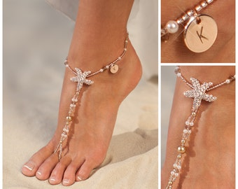 Personalized rose gold jewelry, Starfish Barefoot sandals, Wedding gift, Unique gift, Personalized Womens anklet, custom jewelry for women