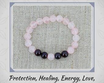 Rose quartz bracelet Garnet bracelet Mala healing crystal and stones Gift for mom birthday gift for wife gift for girlfriend gift women gift