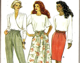 OOP Misses' Skirt and Pants Sewing Pattern, Butterick 5857 Sewing Pattern, Fast & Easy -Vintage 1991- Size 12 -14 - 16