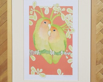 Lovebirds A4 print