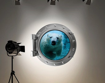 Full Colour Wall Decal Polar Bear Sea Silver Porthole Wall Sticker Ocean