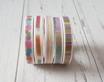 Crayon series Washi Tape - Slim Tape - Planner Accessories - Happy Planner - Erin Condren - Travellers Notebook - Bullet Journal
