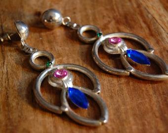 Vintage Trendsetting Silvertoned and Gemstone Dangle Earrings