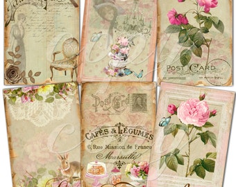 Instant Download  - Le French  - ACEO - Digital Download - Printable  Digital Collage Sheet