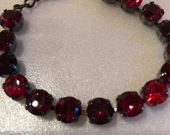 Made with Swarovski Crystals 15 Stone Bracelet Red Ruby Mix Crystals