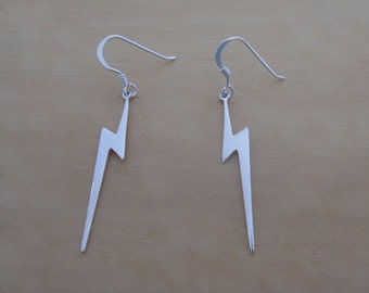 925 Sterling Silver Drop Dangle Lightning Earrings