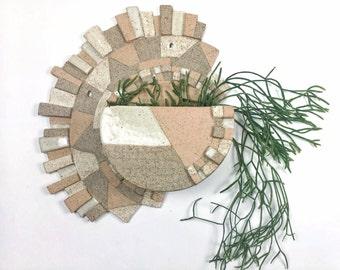 Wall Vessel Sculpture - Ceramic Planter in Stoneware Peach/white/neutral