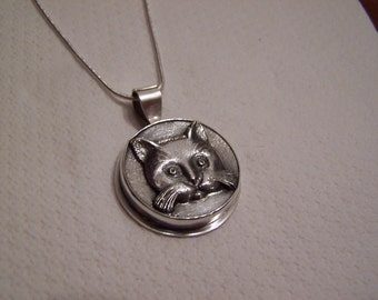 Itty Bitty Kitty Committee,cat,pendant,necklace,kitten,jewelry,silver,sterling kitties,animal,animals,feline,handmade,handcrafted,original
