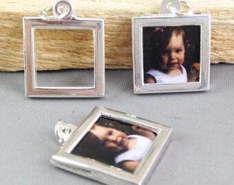 5pcs Antique Silver Square Picture Frame Keychain Charm Pendants 17x17mm AB302-1
