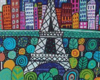Modern cross stitch kit by Heather Galler 'Eiffel Tower' - Counted cross stitch