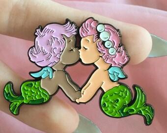 """2"""" Kissing Mermaid Enamel Pin ~ Large 2 inch Vintage Valentine ~ Kewpie Angel Baby Lavender Pink Badge Lapel Cute Pastel Tumblr Goth"""