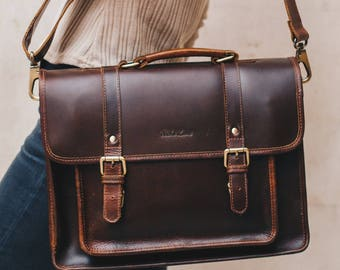 Leather Satchel messenger bag laptop briefcase iPad Messenger for men and women - Classic by Niche Lane Coffee