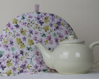Large Tea Cosy Cozy. Brand New Made in England. Butterflies and Dragonflies cotton print Fabric.