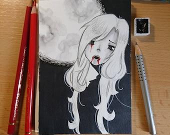"Drawlloween original art ""Vampire"" (postcard)"