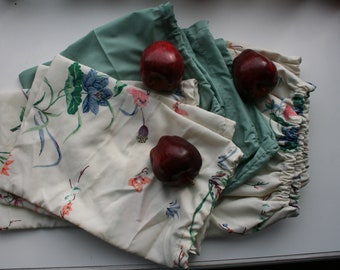 9 Cloth produce bags with elastic drawstrings (3 sizes included)