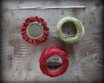 Crocheted Lace Pebble, Tiny, Handmade, Original, Terra Cotta Red Thread, Unique Gift, Table Decoration, Ruffled, Flower, Monicaj