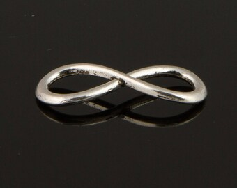5 connectors 31mm antique silver infinity