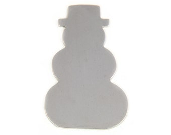 10 Aluminum Snowman Christmas Ornament Blanks, 18 Gauge, Tumbled for Hand Stamping