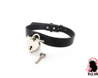 Black Heart Padlock Choker with Key, Black Heart Lock Choker, Lock and Key Choker, Black Heart Padlock Collar, Black Heart Lock Collar, BDSM