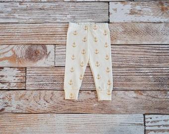 organic baby leggings, baby pants, baby leggins, toddler pants, organic toddler leggings, nautical, anchors, gold, anchor, organic baby