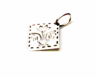 TULIP BASKET Quilt Charm, Tulip Quilt Necklace Pendant, Sterling Silver Charms, Quilting Gifts, Quilt Jewelry, Quilt Patterns, Quilt Squares