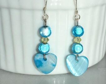 """Earrings """"Blue Pearl Heart"""""""