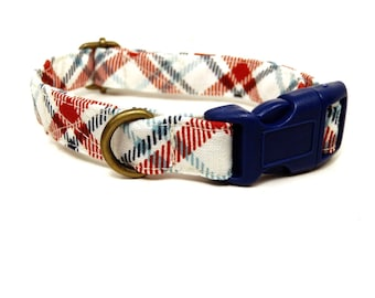 LAST ONES Farmhouse - White Red Navy Blue Mint Plaid Rustic Country Organic Cotton CAT Collar Breakaway Safety - All Antique Metal Hardware