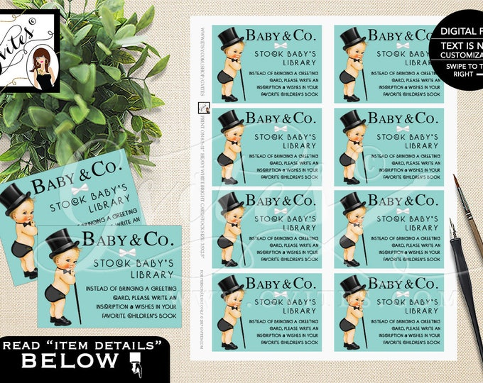 Stock baby's library - Baby and Co baby shower printable inserts, DIGITAL FILE! DIY 3.5x2.5, 8/Sheet.
