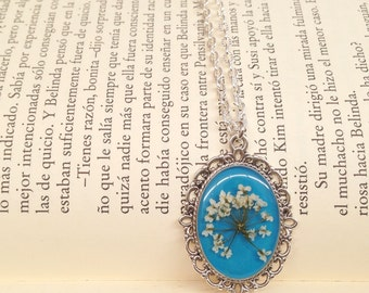 Resin jewelry - pressed flower nature necklace - gift ideas - nature inspired  - handmade unique pressed flower jewelry blue and white