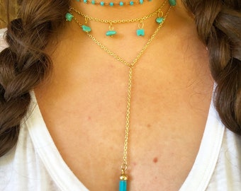 Y Shaped Necklace With Turquoise Pendant