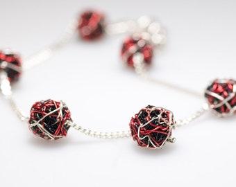 Ball bracelet, red black, silver chain bracelet, delicate, wire geometric jewelry, Summer, unique birthday gift women, modern minimalist
