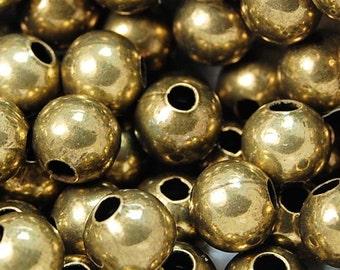Antique Brass finish Beads, 6mm round -100