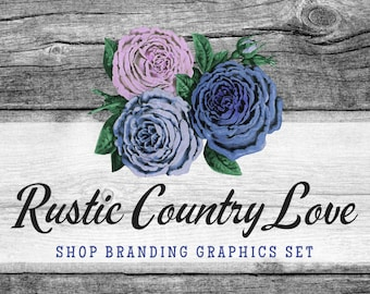 Rustic Rose Shop Branding Banners, Avatar Icons, Business Card, Logo Label + More - 13 Premade Graphics Files - RUSTIC COUNTRY LOVE