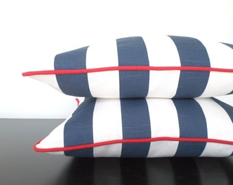Blue and red accent pillow cover 18x18, navy sofa pillow nautical decor, blue striped cushion, beach pillow blue and white decor