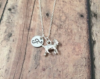 Goat initial necklace - goat jewelry, farm necklace, show goat jewelry, state fair necklace, silver goat pendant, goat necklace