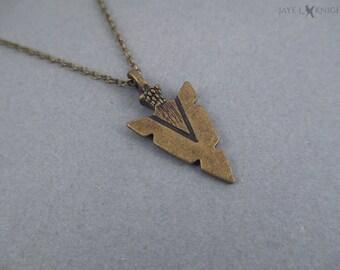 Bronze Arrowhead Charm Necklace