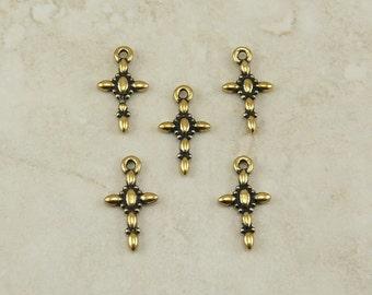 5 TierraCast kleine dekorative Kreuz Charms - Kirche-Religion - 22kt Gold vergoldet führen kostenlose Zinn - versende ich International 2194