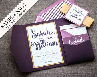 "Purple Wedding Invitations, Purple and Gold Invitations, Glitter Pocketfold Invite, Ombre Invitations - ""Calligraphy Chic"" PF-1L-v1 SAMPLE"