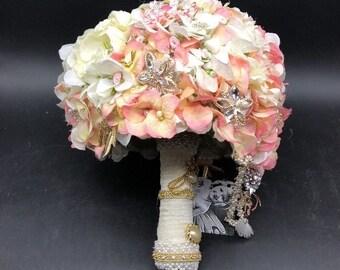 Handmade White & Pink Flower Brooch Bridal Bouquet